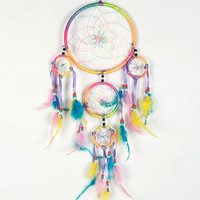 Multicolor Feather And Circle Drop Dream Catcher