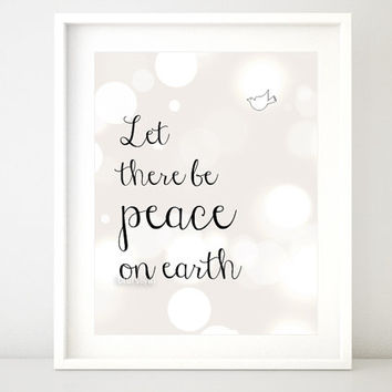 """Quote printable poster """" Peace on earth """" - Inspirational print wall art decor, girl's room, nursery printable -pp67- Instant download"""