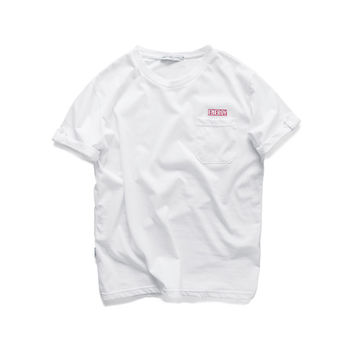 Summer Cotton Alphabet Embroidery With Pocket T-shirts [7929499651]