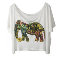 Bohemian Elephant Short Tank Top Blouse