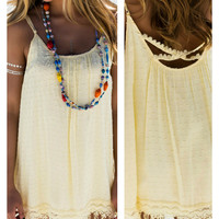 Somewhere You Feel Free Yellow Fringe Tank Dress