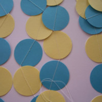TURQUOISE and YELLOW  Paper Circle Garland Perfect for Weddings, Bridal or Baby Showers, Birthdays, Parties, Any Occasion, 10 Feet Long!