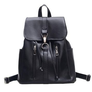 New fashion preppy style zipper women backpack hotsale ladies washed leather black bag student school backpacks