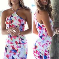 Cross My Heart Geometric Sleeveless Dress