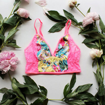 Bright Neon 'Lush' Floral Longline Bralette Cropped Cami Modern Pink Yellow and Blue with Lace Handmade Lingerie by Ohh Lulu