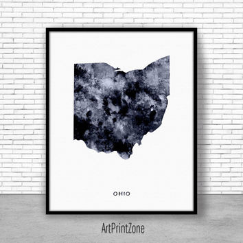 Ohio Art Print Ohio Decor Ohio Print Ohio Map Art Print Office Print Map Print Map Poster Watercolor Map Office Poster ArtPrintZone