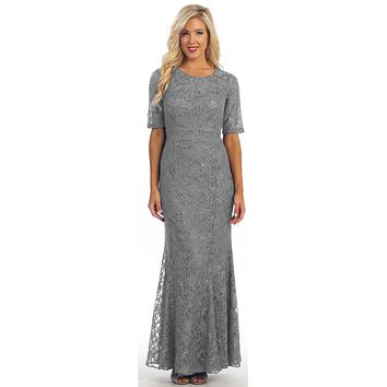 Modest Full Length Mermaid Lace Dress Silver Mid Length Sleeves