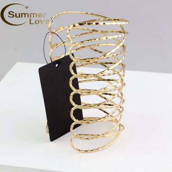 Hot Sale Punk Gold Arm Cuff Bangle Bracelet For Women Pulseiras Para As Mulheres Cuff Bracelet Manchette Bracelets &Bangles S156