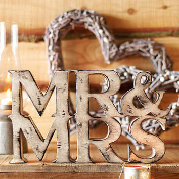 mr and mrs sign natural wood by the wedding of my dreams | notonthehighstreet.com