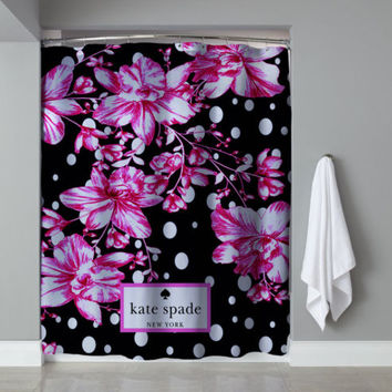 "Pink Floral Polkadot Kate Spade Exclusive Design Shower Curtain 60""x72"""