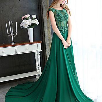 Custom Made Glitter Emerald Green Evening Dresses A Line Cap Sleeve Sexy Open Back Prom Dress Chiffon Formal Evening Gown