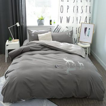 Deer Elephant 100% Cotton Bedlinen Grey Coffee color Bedding Set ed Sheet Double Queen King Size Duvet Quilt Cover Pillowcase
