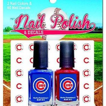 Chicago Cubs 2-Pack Nail Polish with Nail Decal