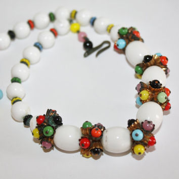 Vintage Necklace Glass Colorful Bead Unsigned Haskell Early 1950s Jewelry