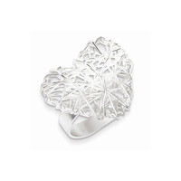 Sterling Silver Polished Puffed Heart Filigree Ring: RingSize: 7
