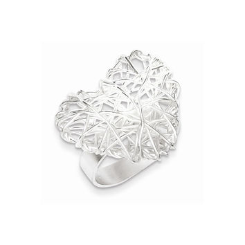 Sterling Silver Polished Puffed Heart Filigree Ring: 7