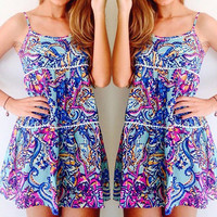 Multi Color Bohemian Print Spaghetti Strap Dress