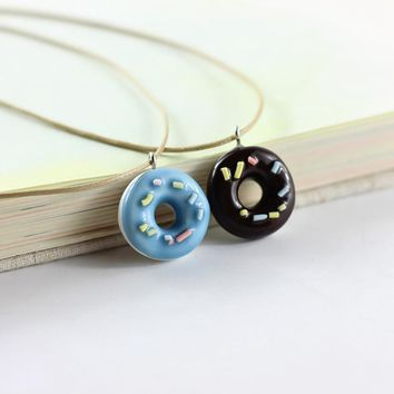 Fashion Cute Lovely Donuts Ceramic Pendant Necklace For Students Girl Best Friends Handmade Resin Charm Jewelry Gift
