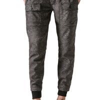Kennedy Rugger Herringbone Cargo Jogger Pants - Mens Pants - Black