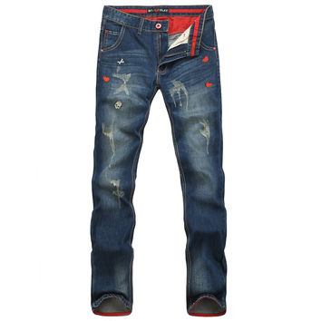 Ripped Holes Korean Print Pants Men Slim Casual Denim Jeans [6528348547]