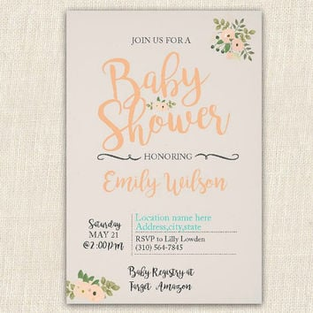Vintage baby shower invitation printable, 4x6 baby shower invitation, floral baby shower