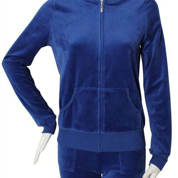 Velour Sweat Tracksuits Set with Hooded Zip Up Jacket and Drawstring Pants