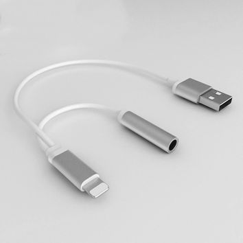 New 2 in 1 3.5mm Earphone Headphone Jack Adapter Connector Cable with Charging For iPhone 7/ 7 Plus