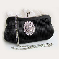 Wedding clutch, Black clutch, vintage inspired clutch, bridesmaid bag , maid of honor evening bag, crystal clutch