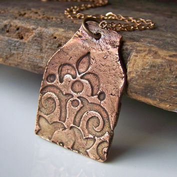 Etsy, Etsy Jewelry, Necklace, Copper Metal Clay Pendant on Reddish Brass Chain, Stamped Copper Clay, Copper