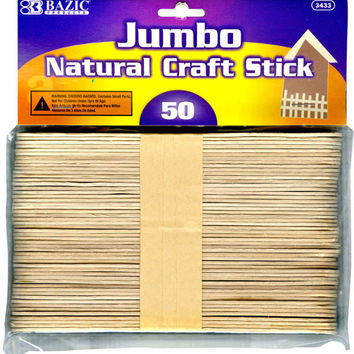 bazic jumbo natural craft stick - 50/pack Case of 72