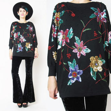 1980s Sequin Top Slouchy Black Sequin Tshirt Vintage Christmas Holiday Party Top Embellished Floral Sequin Shirt Comfy Beaded Pullover (S/M)
