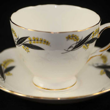 Cup and Saucer, Collectible Royal Vale Bone China, Leaf and Vine Design