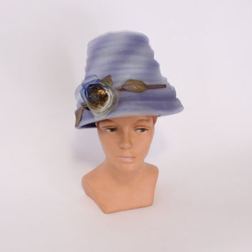 60s OMBRE Blue Tulle BEEHIVE HAT / 1960s Tall Whimsical Statement Hat with Flower