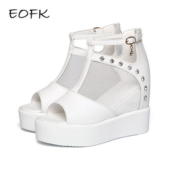 EOFK Fashion Sweet Lace Roman Shoes Women Wedge Heels White Platform Pumps High Heels Sandals zapatos plataforma mujer encaje