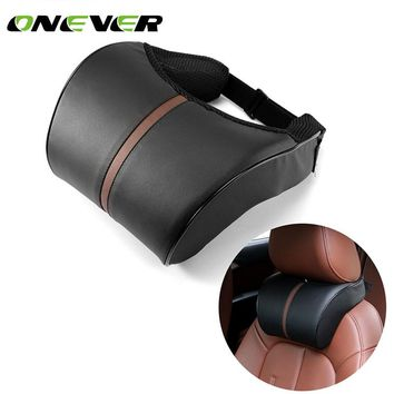 Onever PU Leather Car Headrest Neck Pillow Auto Seat Head Neck pillow Chair rest Cushion Headrest Pillow Car Accessories black