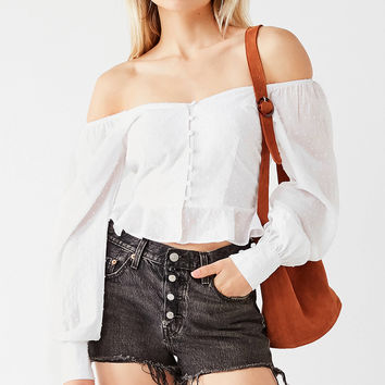 UO Swiss Dot Off-The-Shoulder Button-Down Top | Urban Outfitters