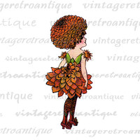 Dahlia Flower Girl Digital Image Graphic Illustration Download Printable Vintage Clip Art for Transfers etc HQ 300dpi No.1184