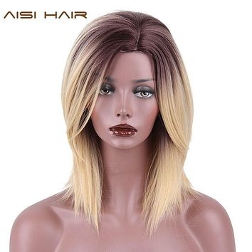 "AISI HAIR 16"" High Temperature Fiber Short Straight Synthetic Ombre Blonde Color Wigs for Black Women"