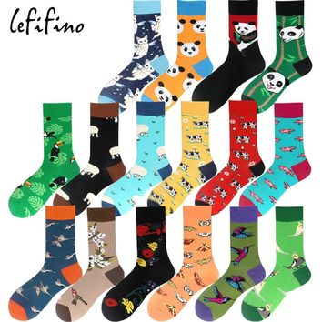 men winter socks colorful happy long animal socks angel cat panda bird cartoon funny novelty socks dress wedding socks Ne77130