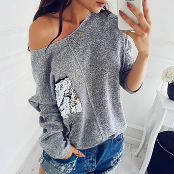 Fashion  Sequined Pullover Knitting Warm Winter Jumper Women Hoody Pocket Autumn Top