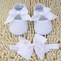 newborn baby Shoes baptism White Bowknot Baby Girl Lace Shoes headband set Toddler Prewalker cute Baby Shoe 0-18month