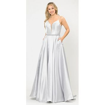 Long Satin Prom Dress with Spaghetti Straps Silver