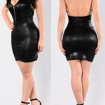 Black Zipper Backless Halter Neck Bodycon PU Leather Party Mini Dress