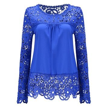 S-6XL Large Size Fashion Women Lace Long Sleeve Chiffon Blouses Shirt Crochet Blusa Tops Blusas Femininas Camisa Plus Size