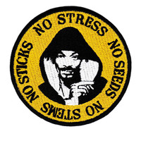 "Vintage Style ""No Stress"" DJ Patch Badge 9cm Hip Hop RAP Turntable Cap Hat"