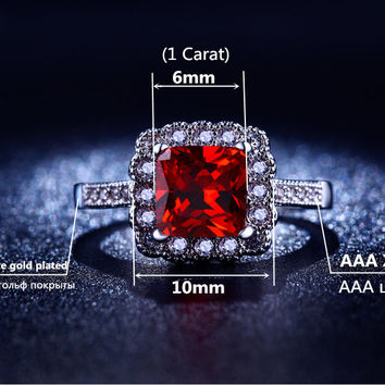 MDEAN White gold plated Rings for women Ruby jewelry square CZ diamond jewelry wedding rings Bijoux fashion Accessories MSR200