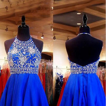 Royal Blue Beaded Halter Short Chiffon Homecoming Dress