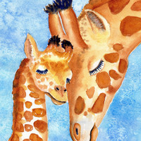 ORIGINAL Watercolor Painting, Giraffe Baby and Mother, 8x10 inch, Zoo animal, Cute Animal portrait, Africa, Nursery art, Children's room