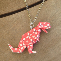 Red Dinosaur Necklace, T-Rex Necklace, Dinosaur Jewelry, Geeky Necklace, Nerdy Jewelry, Nerdy Necklace, Dino Necklace, T-Rex Jewelry