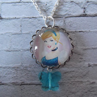 Handmade Disney Princess inspired cameo necklace, Cinderella Style 2, Pale Blue Glass Crystal Butterfly, Girl's necklace, Free UK p&p